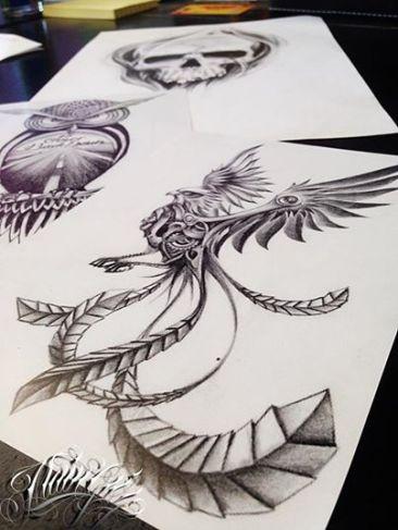 steampunk phoenix tattoo deisgn