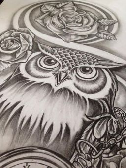 owl with roses tattoo design