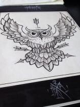 linework owl tattoo design