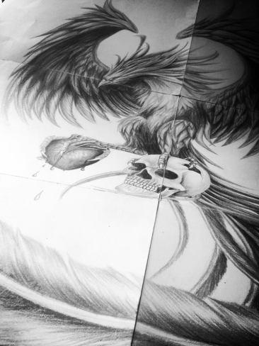 phoenix and skull tattoo design