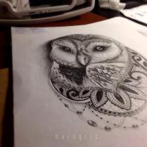 owl with lace and pearl tattoo design