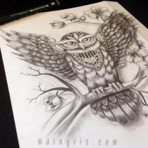 owl black and grey tattoo design