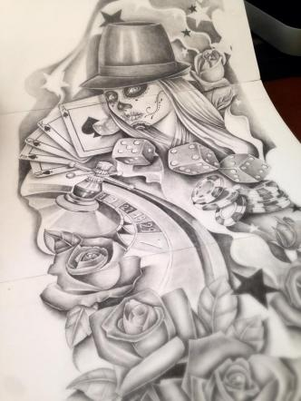 poker and gamble sleeve tattoo design