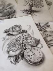 rose and clock tattoo design