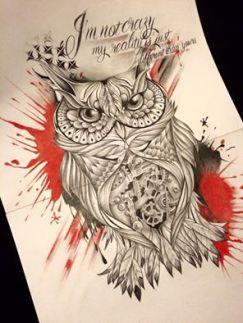 trash polka with owl tattoo design