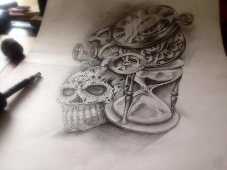 skull and hourglass tattoo design