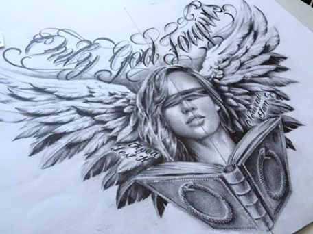 justice with wings tattoo design