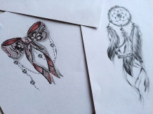Dreamcatcher and sexy lace garter tattoo design