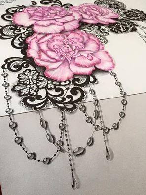 flowers garter tattoo design