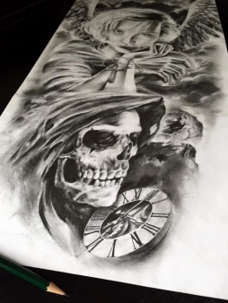 skull and clock tattoo design