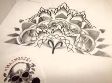 Original mandala dotwork tattoo for woman by Maingriz.com
