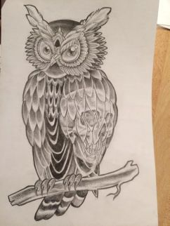 skull and owl tattoo design
