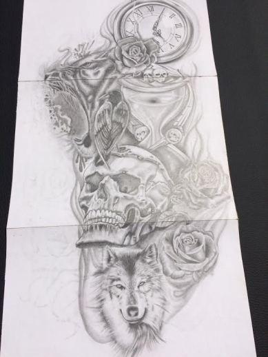 skull and hourglass sleeve tattoo design