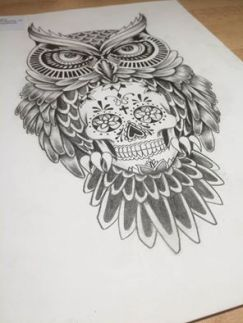 mexican skull with owl tattoo design