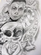 skull and rose tattoo design