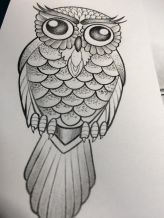 simple owl girly tattoo design