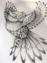 black and grey owl tattoo design