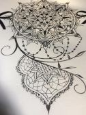 Sexy mandala tattoo design with lace and pearls for woman by Maingriz.com