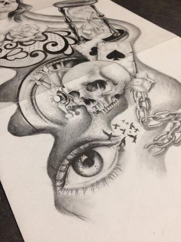 skull and eye tattoo design