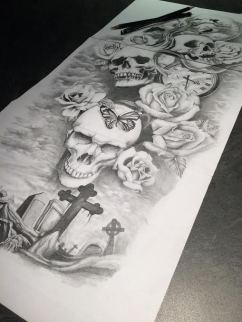 skull and rose sleeve tattoo design