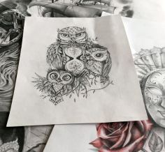 owl with hourglass tattoo design
