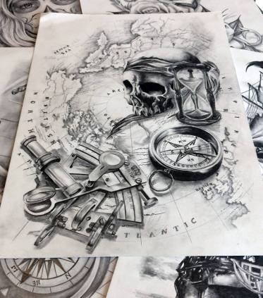 travel black and grey tattoo design