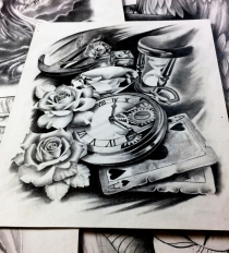 rose clock cards and hourglass tattoo design