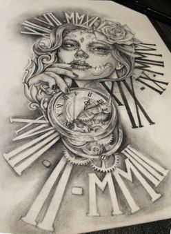 catrina and clock sleeve tattoo design