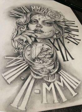 catrina and clock sleeve tattoo design