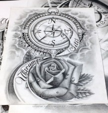 rose and clock tattoo design www.MAINGRIZ.com