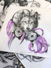 dreamcatcher and wolf tattoo design