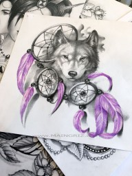 dreamcatcher and wolf tattoo design