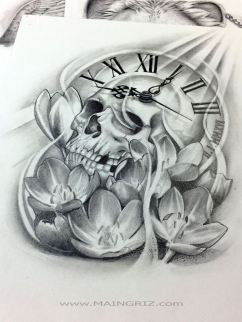 skull lotus and time tattoo design