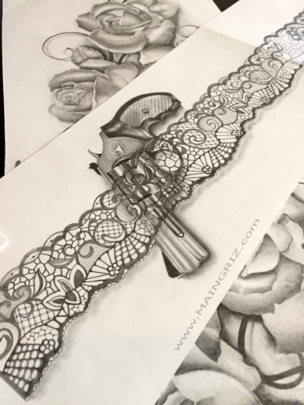 Gun with sexy lace garter tattoo design