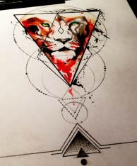 geometric lion tattoo design