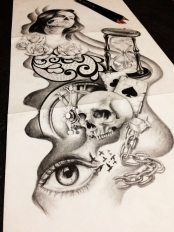 skull with hourglass tattoo design