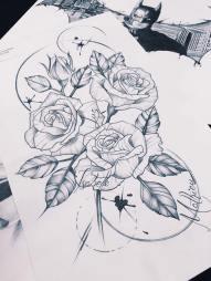 rose line work tattoo design