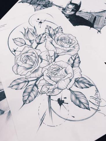 rose line work tattoo design
