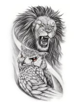Owl and lion black and grey custom tattoo design
