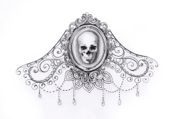 Skull tattoo with mandala, lace, pearls and diamonds for woman created by Maingriz.com