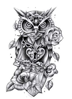 owl with roses and key tattoo design