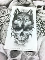 Skull and wolf Tattoo Design