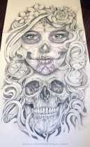 skull and catrina Tattoo Design