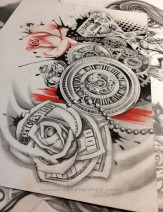 money rose tattoo design