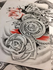 money rose tattoo design