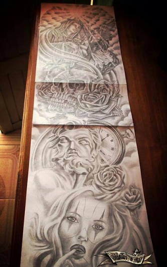 statue sleeve tattoo design
