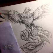 phoenix black and grey tattoo design