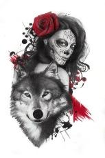 wolf and catrina sleeve tattoo design