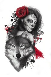wolf and catrina sleeve tattoo design