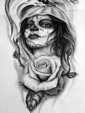 rose and catrina Tattoo Design